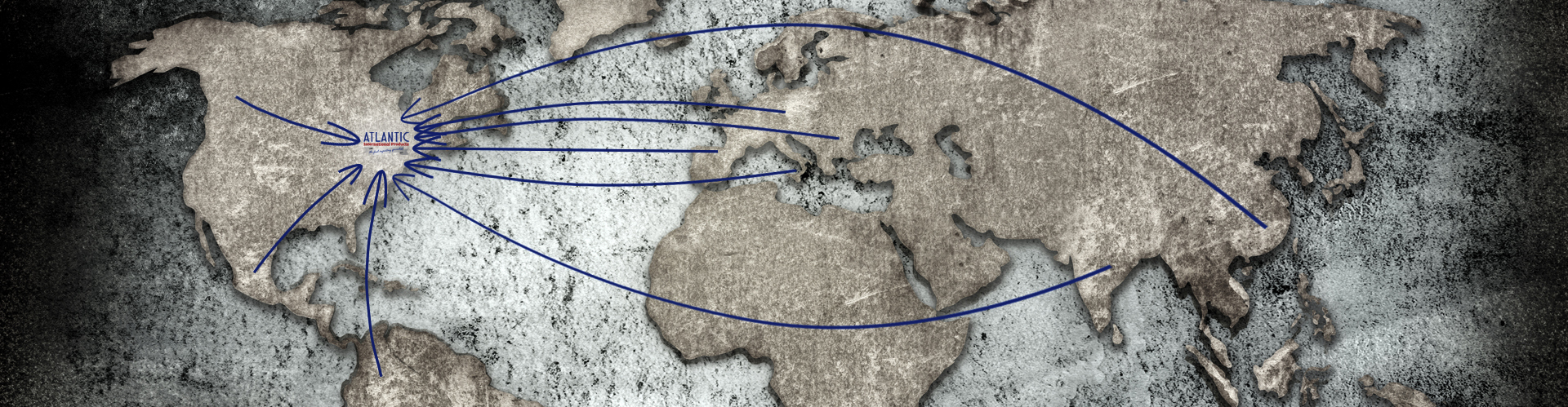 World Map with arrows pointing at AIP logo