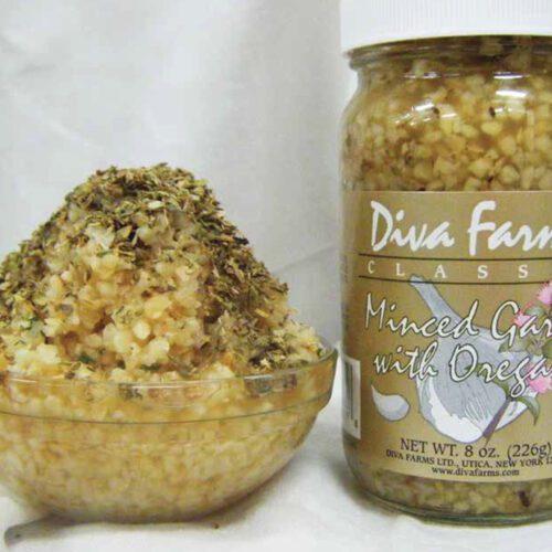 Minced garlic in oregano