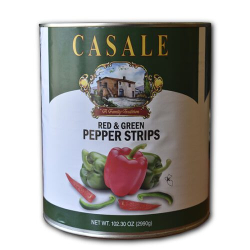Red and green pepper strips
